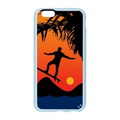 Man Surfing at Sunset Graphic Illustration Apple Seamless iPhone 6/6S Case (Color)