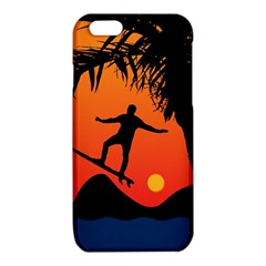 Man Surfing at Sunset Graphic Illustration iPhone 6/6S TPU Case
