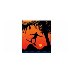 Man Surfing at Sunset Graphic Illustration Satin Wrap