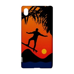 Man Surfing At Sunset Graphic Illustration Sony Xperia Z3+