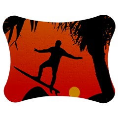 Man Surfing at Sunset Graphic Illustration Jigsaw Puzzle Photo Stand (Bow)