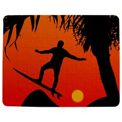Man Surfing at Sunset Graphic Illustration Jigsaw Puzzle Photo Stand (Rectangular)