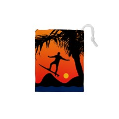 Man Surfing At Sunset Graphic Illustration Drawstring Pouches (xs)