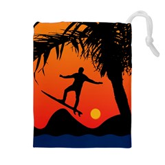 Man Surfing At Sunset Graphic Illustration Drawstring Pouches (extra Large)