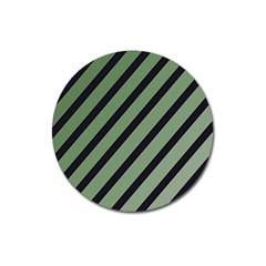 Green elegant lines Magnet 3  (Round)