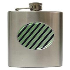 Green elegant lines Hip Flask (6 oz)