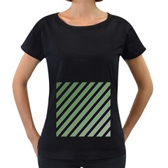 Green elegant lines Women s Loose-Fit T-Shirt (Black)