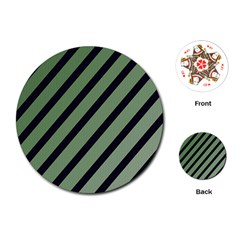 Green elegant lines Playing Cards (Round)