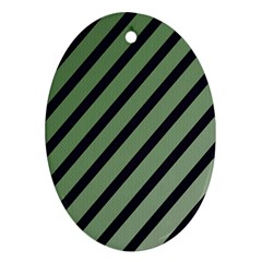 Green elegant lines Oval Ornament (Two Sides)