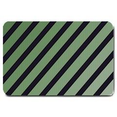 Green elegant lines Large Doormat