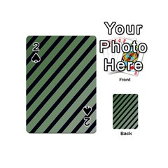Green elegant lines Playing Cards 54 (Mini)