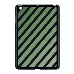 Green elegant lines Apple iPad Mini Case (Black)