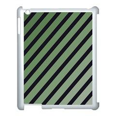 Green elegant lines Apple iPad 3/4 Case (White)