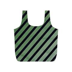 Green elegant lines Full Print Recycle Bags (S)