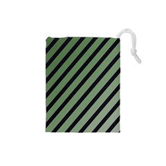Green elegant lines Drawstring Pouches (Small)