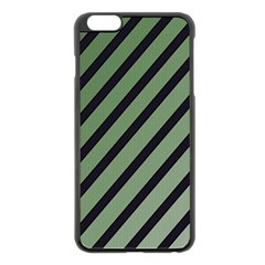 Green elegant lines Apple iPhone 6 Plus/6S Plus Black Enamel Case