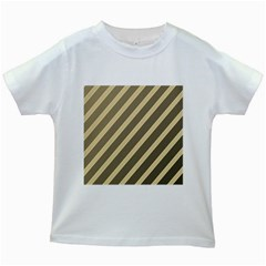 Golden elegant lines Kids White T-Shirts