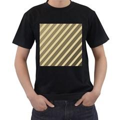 Golden elegant lines Men s T-Shirt (Black) (Two Sided)