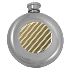 Golden elegant lines Round Hip Flask (5 oz)