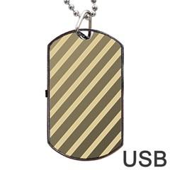 Golden elegant lines Dog Tag USB Flash (One Side)