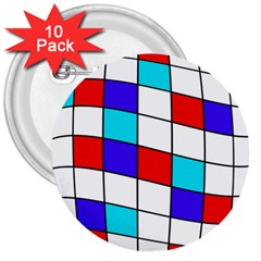 Colorful cubes  3  Buttons (10 pack)