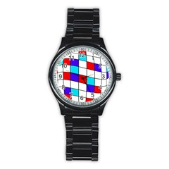 Colorful cubes  Stainless Steel Round Watch