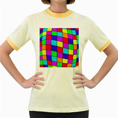 Colorful cubes Women s Fitted Ringer T-Shirts