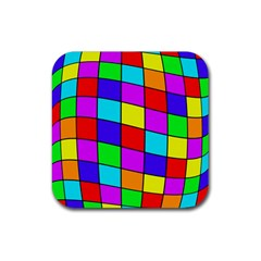 Colorful cubes Rubber Square Coaster (4 pack)
