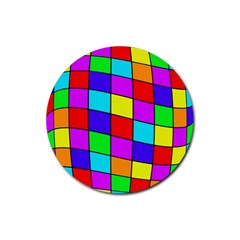 Colorful cubes Rubber Coaster (Round)