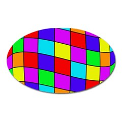 Colorful cubes Oval Magnet