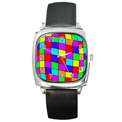 Colorful cubes Square Metal Watch