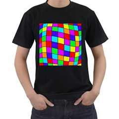 Colorful cubes Men s T-Shirt (Black) (Two Sided)