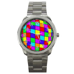 Colorful cubes Sport Metal Watch