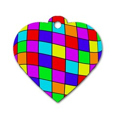 Colorful cubes Dog Tag Heart (One Side)
