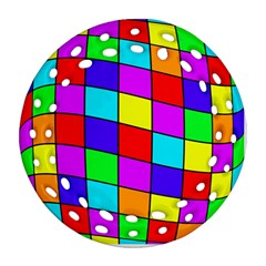 Colorful cubes Round Filigree Ornament (2Side)