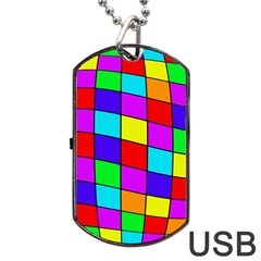 Colorful cubes Dog Tag USB Flash (One Side)