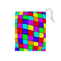 Colorful cubes Drawstring Pouches (Medium)