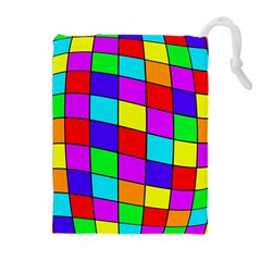 Colorful cubes Drawstring Pouches (Extra Large)