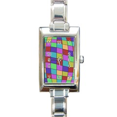 Colorful cubes  Rectangle Italian Charm Watch