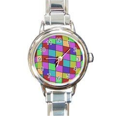 Colorful cubes  Round Italian Charm Watch