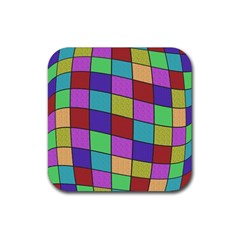 Colorful cubes  Rubber Coaster (Square)