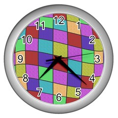 Colorful cubes  Wall Clocks (Silver)