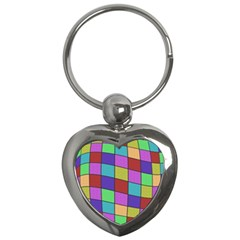 Colorful cubes  Key Chains (Heart)