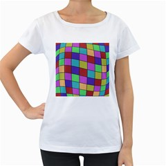 Colorful cubes  Women s Loose-Fit T-Shirt (White)