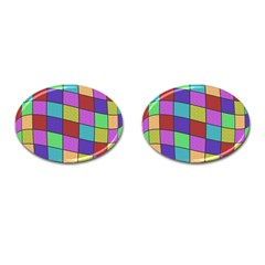 Colorful cubes  Cufflinks (Oval)