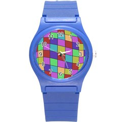 Colorful cubes  Round Plastic Sport Watch (S)