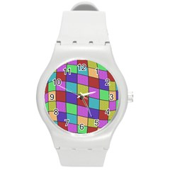 Colorful cubes  Round Plastic Sport Watch (M)