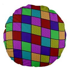 Colorful cubes  Large 18  Premium Round Cushions