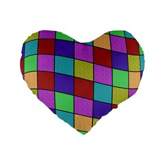Colorful cubes  Standard 16  Premium Heart Shape Cushions