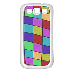 Colorful cubes  Samsung Galaxy S3 Back Case (White)
